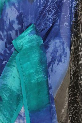 Blue Shaded Printed Crepe Saree-PE2644