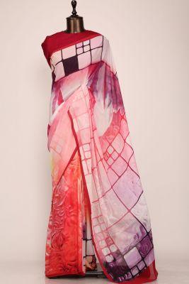 Red & Pink Shaded Printed Georgette Saree-PE2652