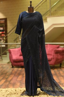 Space Blue Stone Embroidered Lace Saree-PE2745