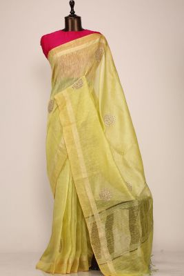Chartreuse Green Gota Embroidered Linen Saree-PE2765
