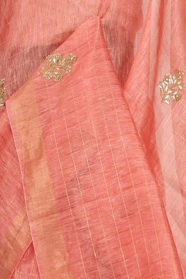 Brink Pink Gota Embroidered Linen Saree-PE2768