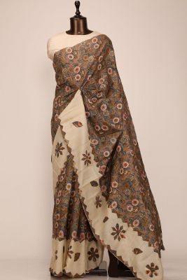 Multicolor Printed Tussar Silk Saree-PE2805