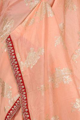 Peach-Pink Zari woven Tussar Silk Saree-PE2898