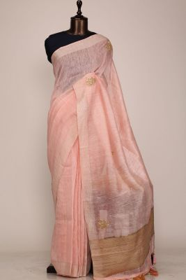 Pastel Pink Gota Embroidered Linen Saree-PF1027