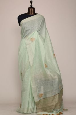 Pastel Green Gota Embroidered Linen Saree-PF1029