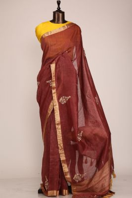 Burnt Brown Gota Embroidered Linen Saree-PF1033