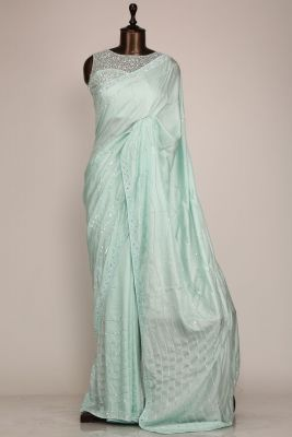 Seafoam Green Sequins Embroidered Silk Saree-PF1089