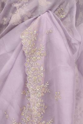 Lavender Cutdana Embroidered Organza Saree-PF1091