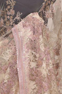 Orchid Pink Stone Embroidered Net Half & Half Saree-PF1096