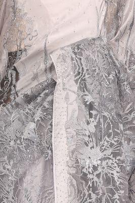 Silver Stone Embroidered Net Half & Half Saree-PF1100