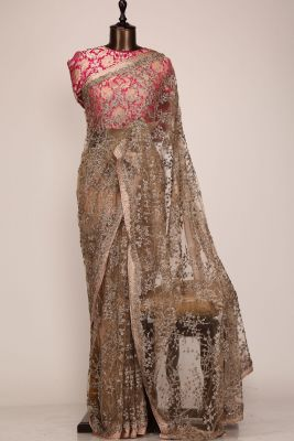 Mocha Brown Sequins Embroidered Net Saree-PF1101