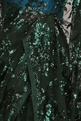 Dark Green Sequins Embroidered Net Saree-PF1102