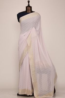Lavender Stone Embroidered Georgette Saree-PF1120