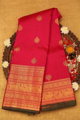 Crimson Pink Zari woven Kanchipuram Silk Saree-PF1245