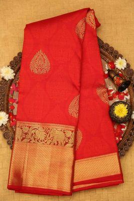 Candy Red Zari woven Kanchipuram Silk Saree-PF1248