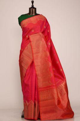 Pink & Orange Dual Tone Zari woven Kanchipuram Silk Saree-PF1250