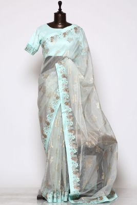 Mint Green Printed Organza Saree-PF1333