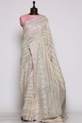 Taupe Grey Sequins Embroidered Jute Saree-PF1348