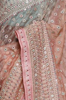 Peach Sequins Embroidered Jute Saree-PF1349
