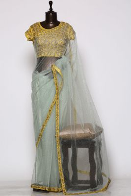 Mint Green Pearl Embroidered Net Saree-PF1350