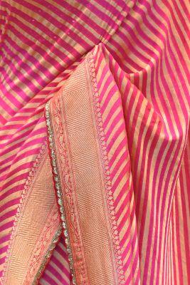 Shaded Pink Zari Woven Banarasi Georgette Saree-PF1628