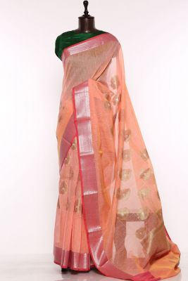 Peach & Yellow Dual Tone Zari woven Cotton Saree-PF1671