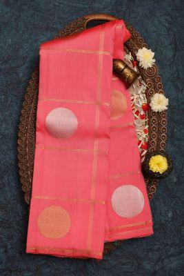 Brink Peach Zari Woven Kanchipuram Silk Saree-PF2045