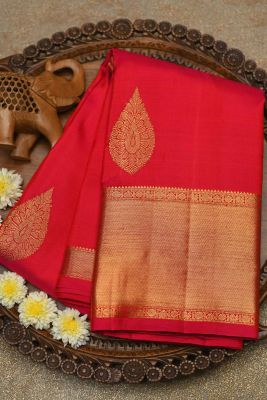 Pink & Orange Dual Tone Zari Woven Kanchipuram Silk Saree-PF2047