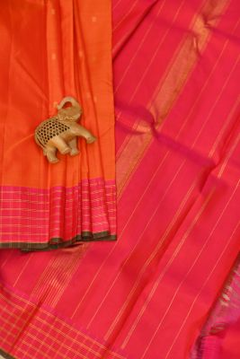 Orange Zari Woven Kanchipuram Silk Saree-PF2050