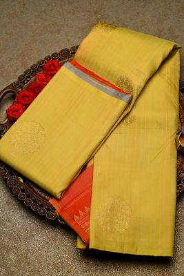 Yellow & Grey Zari Woven Kanchipuram Silk-PF2051