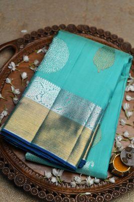 Green & Blue Dual Tone Zari Woven Kanchipuram Silk Saree-PF2052