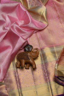 Baby Pink Zari Woven Kanchipuram Silk Saree-PF2063