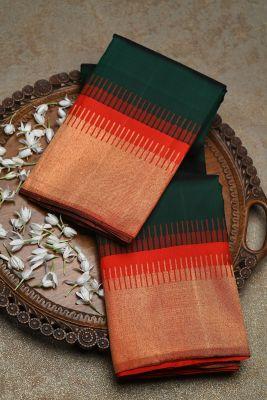 Bottle Green Zari Woven Kanchipuram Silk Saree-PF2071