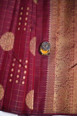Maroon Zari Woven Kanchipuram Silk Saree-PF2077