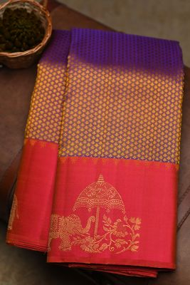 Voilet & Yellow Dual Tone Woven Kanchipuram Silk Saree-PF2101