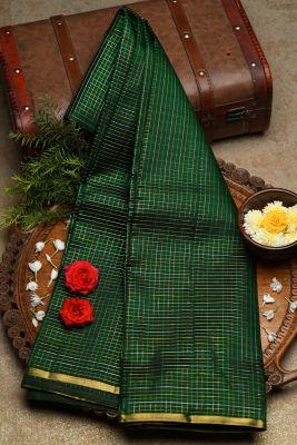 Green & Black Dual Tone Zari Woven Kanchipuram Silk Saree-PF2103