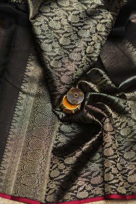 Black Zari Woven Kanchipuram Silk Saree-PF2107