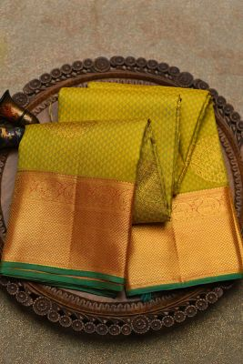 Yellow & Green Zari Woven Kanchipuram Silk Saree-PF2119