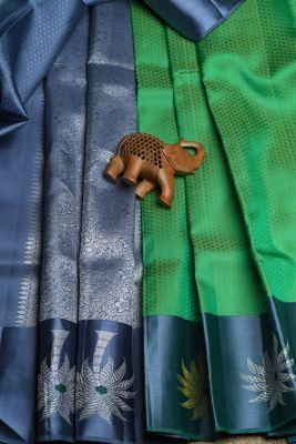 Chartreuse Green Woven Kanchipuram Silk Saree-PF2122