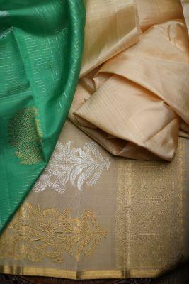Paris Green Zari Woven Kanchipuram Silk Saree-PF2123