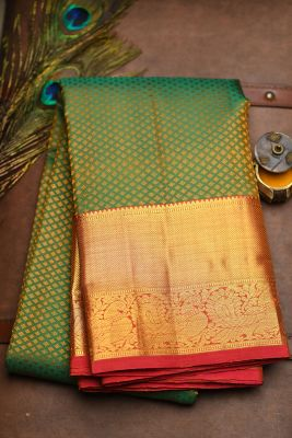 Green & Yellow Dual Tone Woven Kanchipuram Silk Saree-PF2124