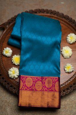 Turquoise Green Woven Kanchipuram Silk Saree-PF2126