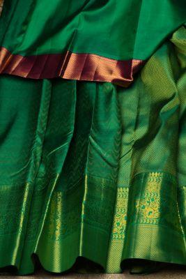 Emerald  Green Woven Kanchipuram Silk Saree-PF2131