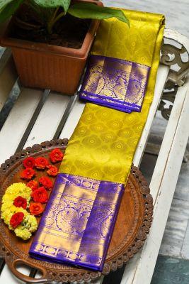 Chartreuse Green Zari Woven Kanchipuram Silk Saree-PF2160