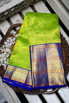 Spring Green Zari woven Kanchipuram Silk Saree-PF2162