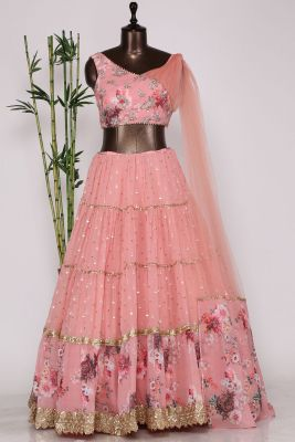 Carnation Pink Sequins Embroidered Georgette Designer Lehenga-PF2203