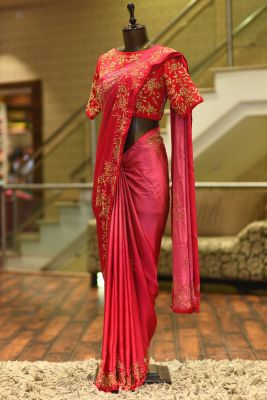 Pink & Red Cutdana Embroidered Satin Saree-PF2439