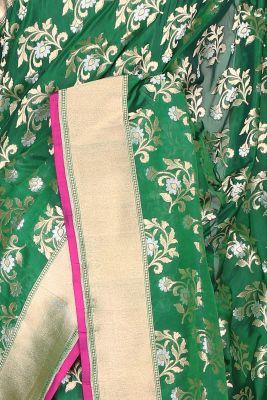 Emerald Green Zari Woven Banarasi Silk Saree-PF2458