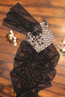Black Stone Embroidered Lace Saree-PF2516