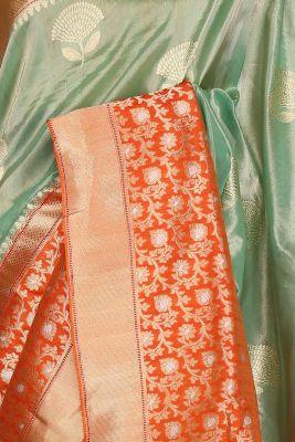 Light Green & Gold Zari Woven Banarasi Tissue Saree-PF2598